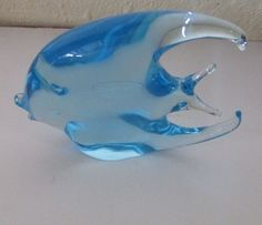 Vintage Royal Gallery R.H. Macy & Co. Italy Blue Glass Fish Figurine 1988