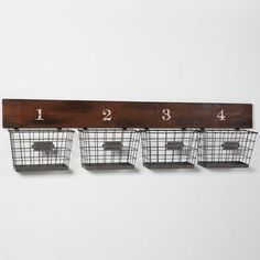 Wood And Wire Wall Multi Basket | PBteen  I need to make something like this. Any ideas where to get baskets like this to hold mail for less $ than pottery barn!?