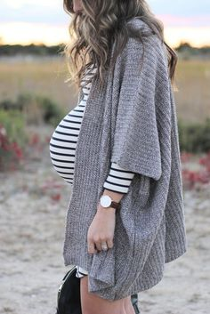 Maternity Style // Striped Dress with Cozy Cardigan and Clarks New Fall Line More