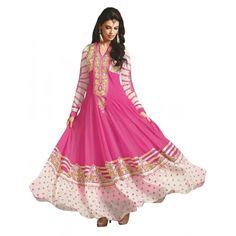Party  Wear Embroidered Georgette Pink Anarkali Salwar Suit - EBSFSKAH376002C ( EBSFSK37 )