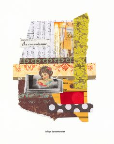 day 344 collage (connoisseur) :: scrap music sheet + decorative papers, victorian image, torn envelope, text; glued. #design #collageart #papercollage