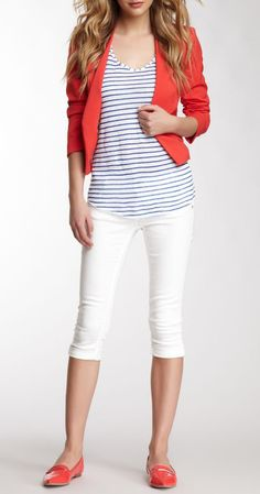 Vigoss White Bermuda Short - good length! (cute blazer but not sure how practical that would be for summer weather...)