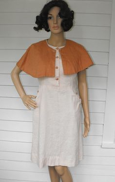 Vintage 50s Dress Linen Sleeveless with Cape L by soulrust on Etsy, $79.99