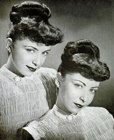 "Sister Lucille and Frances Dublin of NYC model their matching Toni Home Perms, 1948. OMG ~ my mother gave me a ""Toni"" home perm when I was a child...it did not look like this...it was a curly horror style ~ I cried."