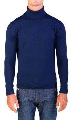 Valentino Men's Turtleneck Sweater Navy Blue.