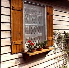 Tommy is making me these shutters. I am thinking dark green house with plum colored shutters. Diy Exterior Window Shutters, Outdoor Shutters, White Shutters, House Shutters, Rustic Shutters, House Window Design, Outdoor Landscaping, Outdoor Decor, Gnome House