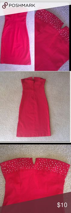 """Red Strapless Midi Dress Gorgeous red strapless body con dress with bling up around the top zipper in the back. Size  XS. Waist measures 26"""". The dress is a just a little little stretchy. Sorry I can't model, it's too small Agaci Dresses Midi"""