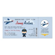 Kids Airline Ticket Birthday Party Invitation