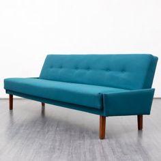 60er Jahre Sofa mit Klappfunktion, Teak, neu bezogen Karlsruhe Velvet-Point