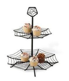 Halloween Black Spider Web Tiered Cupcake Stand Server  $30.00 www.cakestandsgallery.com - Cake Stands Halloween
