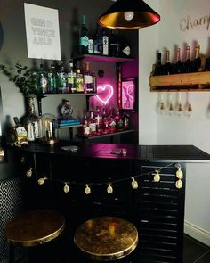 Neon light and vibes for liquor area of kitchen Creative, Colourful Living Spaces to Increase Productivity. Casa Art Deco, Living Room Decor, Bedroom Decor, Living Spaces, Living Rooms, Restaurant Seating, Cafe Seating, Kitchen Seating, Kitchen Tables