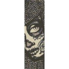 SUGAR SKULL TIMORA - beading cuff bracelet pattern for loom (buy any 2 patterns - get 3rd FREE)