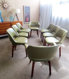 Mid Century Vintage Set 8 Danish Deluxe Dining Chairs Parker Fler Retro Era