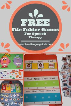 Free resources, activities, and file folder games for speech therapy.  Great for speech therapists or parents!