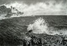 """Saatchi Art is pleased to offer the drawing, """"Spain. The old fort. Original Drawing: Graphite on Paper. Landscape Pencil Drawings, Art Drawings, Old Fort, Love Art, Saatchi Art, Spain, Old Things, Artsy, Waves"""