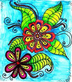 10 minute flower sketch using ink pencil
