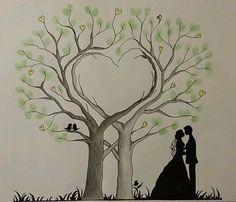 Herz Wedding Tree Hochzeit Baum Gästebuch Fingerabdruck Geschenk Leinwand