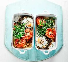 Two bowls of mushroom baked eggs and tomatoes
