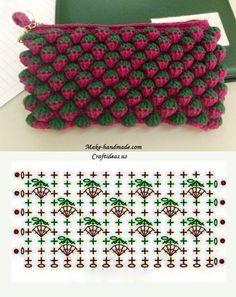 "Point de Crochet ""Strawberry"" - Tutorials - Crochet et plus.Crochet et plus… Crochet Diy, Crochet Pouch, Crochet Motifs, Crochet Diagram, Crochet Stitches Patterns, Crochet Chart, Love Crochet, Crochet Flowers, Crochet Bags"