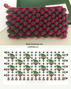 Crochet Strawberry Stitch - Chart ❥ 4U hilariafina  http://www.pinterest.com/hilariafina/