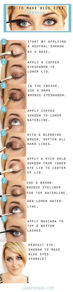 Makeup for blue eyes. Bronze eye shadow. Gold eyeshadow. Copper eyeshadow. The Lovely Blog. Lauren Snow. makeup tips. beauty tips