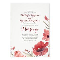 Burgundy Watercolor Florals Cute Wedding Invites