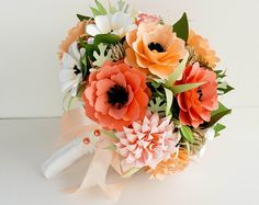 Shades of Coral and Peach - Wedding Bouquet - Rustic Wedding - Peach - Coral - Paper Flowers - Coral Bridal Bouquet Bridal Bouquet Coral, Flower Bouquet Wedding, Bridesmaid Bouquets, Paper Flowers Wedding, Felt Flowers, Boquette Wedding, Wedding Peach, Trendy Wedding, Wedding Favors