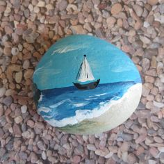 Sailboat Ocean Painted Pebble Rock Art by ArtRoxx on Etsy Rock Painting Patterns, Rock Painting Ideas Easy, Rock Painting Designs, Pebble Painting, Pebble Art, Stone Painting, Painting Art, Paintings, Pebble Stone