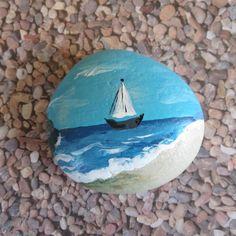 Sailboat Ocean Painted Pebble Rock Art