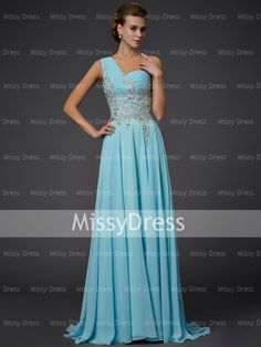 Chiffon A-line Applique One Shoulder Prom Gown with Sheer Back    Market Price: AU$555.80  Missy Price: AU$179.91