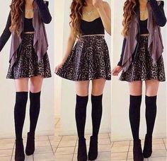 Black top + black socks + skirt.