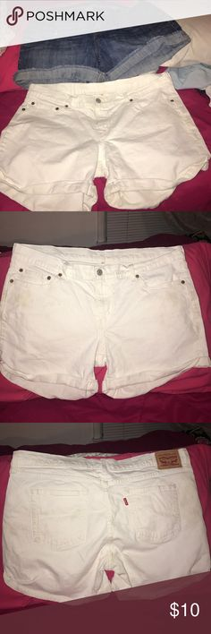 Bundle of Old Navy and Levi  Strauss Denim Shorts! A pair of white Levi Strauss Denim shirts size 32 (14) and a pair of blue Old Navy blue denim shorts size 14 .. Both excellent  condition! Old Navy Shorts Jean Shorts