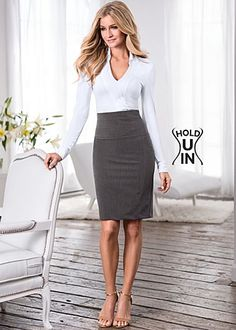 Knit shirt body suit available in black and white in sizes XS - XL. Hold U In Pencil Skirt available in sizes 2 -16 in colors black, grey and navy.