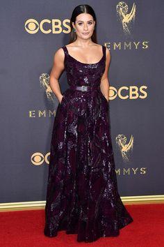 The Emmy Awards 2017   British Vogue - Lea Michele wearing Elie Saab.