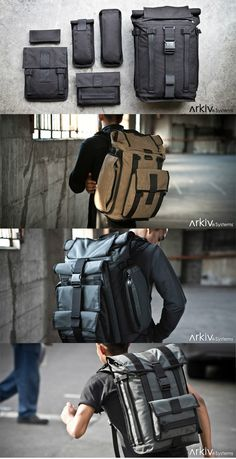 Arkiv Field Backpack Lets You Add Tons Of Pockets ( link :: http://missionworkshop.com/products/arkiv-system-bags/configure-your-field-pack.php#3 : )