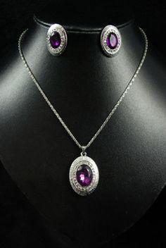 Purple & Diamante Surround Oval Jewellery Set available at www.mayblossomuk.co.uk