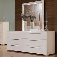 Chico Double Dresser and Mirror Set in White Lacquer - modern ...