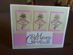 J: Christmas card made with rubber stamps