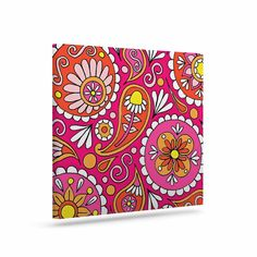 "Sarah Oelerich ""Paisley Pop"" Orange Pink Canvas Art"