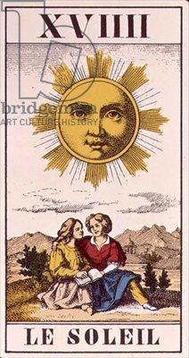 XVIIII Le Soleil, French tarot card of the Sun, 19th century (engraving) 6dee5bec9706