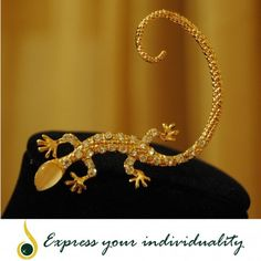 www.jawaherexpress.com Lizard Crystal Earrings - 18k gold plated