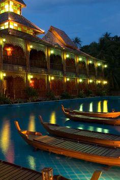 Illuminated at night, the Supreme Deluxe building is especially serene. Santhiya Koh Phangan Resort & Spa (Thailand) - Jetsetter