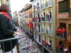 People begin lining up on balconies hours before the running starts. Running Of The Bulls, Pamplona, Balconies, Lineup, Spain, People, Verandas, Balcony, Sevilla Spain