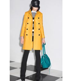 @Who What Wear - Gucci                 Hat Nine West Classic Felt Newsboy Hat ($30)  Coat Cedric Charlier Wool-Cashmere Coat ($1,470) in Yellow Land's End Luxe Wool Pea Coat ($149) in Golden Amber  Sweater Vince Colorblock Breton Stripe Cashmere Sweater ($325) in Heather Steel
