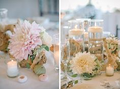 soft pink and white driftwood centerpiece