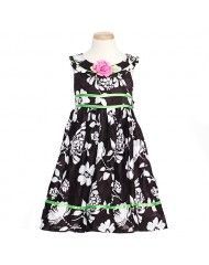 Bonnie Jean Black White Flower Easter Dress