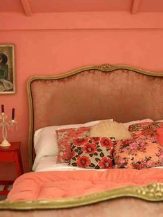 Dreamy coral boho bedroom