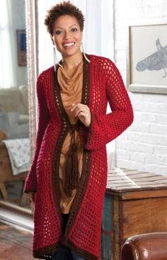 Long on Looks Cardigan Long open stitch crochet robe sweater. Pretty and probably fast. Free pattern