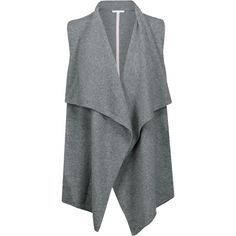 Duffy - Draped Cashmere Vest (550 BRL) ❤ liked on Polyvore featuring outerwear, vests, vest, jackets, coats & jackets, sweaters, grey, cashmere vest, duffy knitwear and grey vest