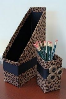 Cheetah Office Set from a cereal box and a stick butter box Cheetah Bedroom, Animal Print Bedroom, Maid Marian, Cardboard Box Crafts, Office Set, Teen Room Decor, Trash To Treasure, Diy Projects To Try, My Favorite Color